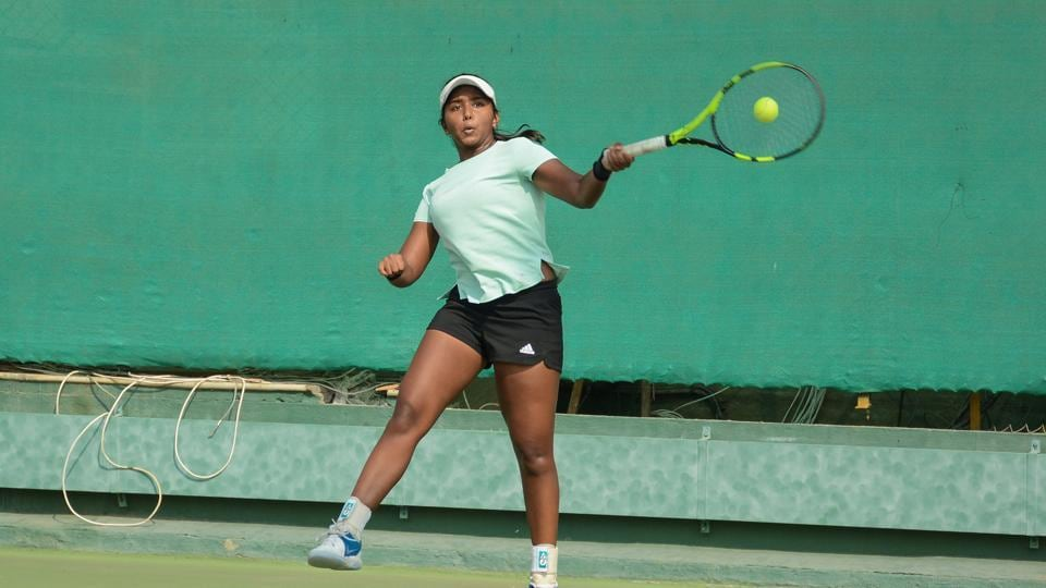 Sharannya Gaware from India in action during NECC ITF women's tennis tournament at Deccan Gymkhana in Pune on Tuesday. Ulrikke Eikeri of Norway beats Gaware 6-1, 6-0.