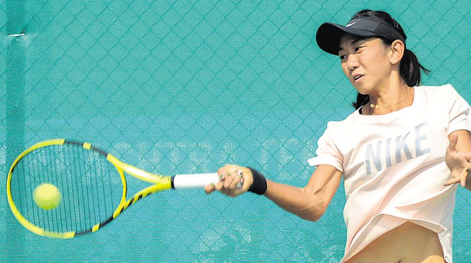 Jia-Jing Lu from China in action during her practice session at NECC ITF women's tennis tournament at Deccan Gymkhana in Pune.