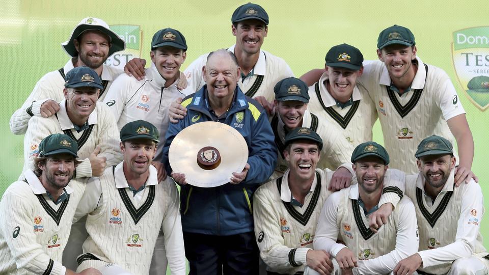 Australia celebrates their series win over Pakistan.