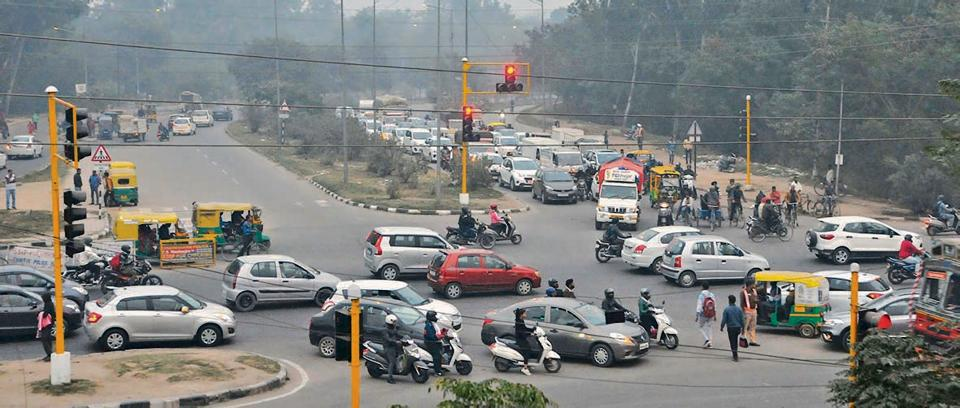 Black spots, such as this one at the Hallomajra intersection in Chandigarh, will be tagged with signages of 'accident prone area', a solar powered blinker and  rumble strips.