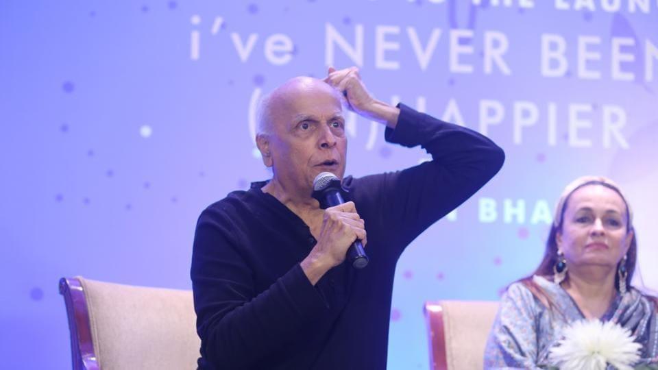 Mahesh Bhatt addresses at the launch of his daughter Shaheen Bhatt's book I've Never Been (un)Happier.