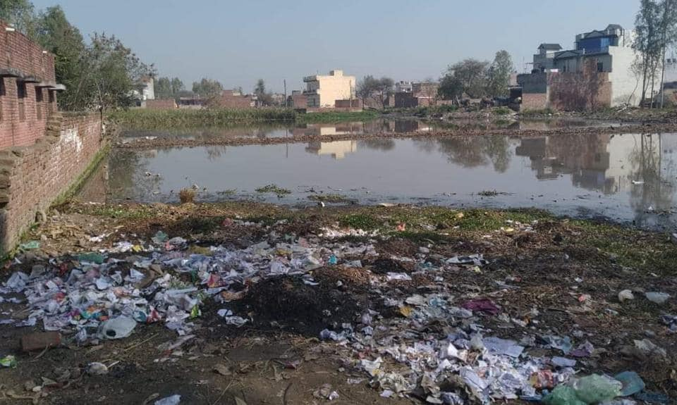 Over one acre land near the school premises, at Ullana village in Ghanaur block, has turned into a pond of waste water. Garbage of the village is also being dumped here.