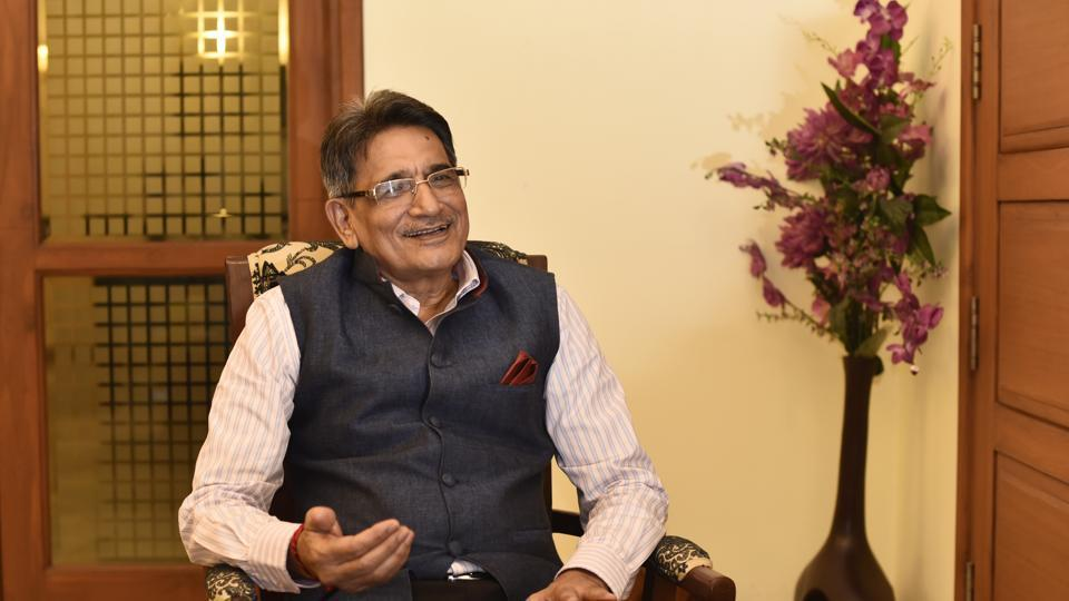 Former Chief Justice Of India R M Lodha during an interaction with HH Nirmal Pathak in New Delhi.