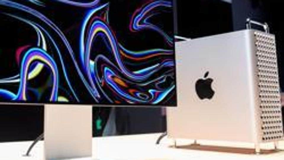 Apple's new Mac Pro sits on display in the showroom during Apple's Worldwide Developer Conference (WWDC) in San Jose, California.