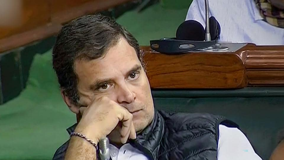 Congress leader Rahul Gandhi in Lok Sabha during the ongoing Winter Session of Parliament, in New Delhi, on Tuesday.
