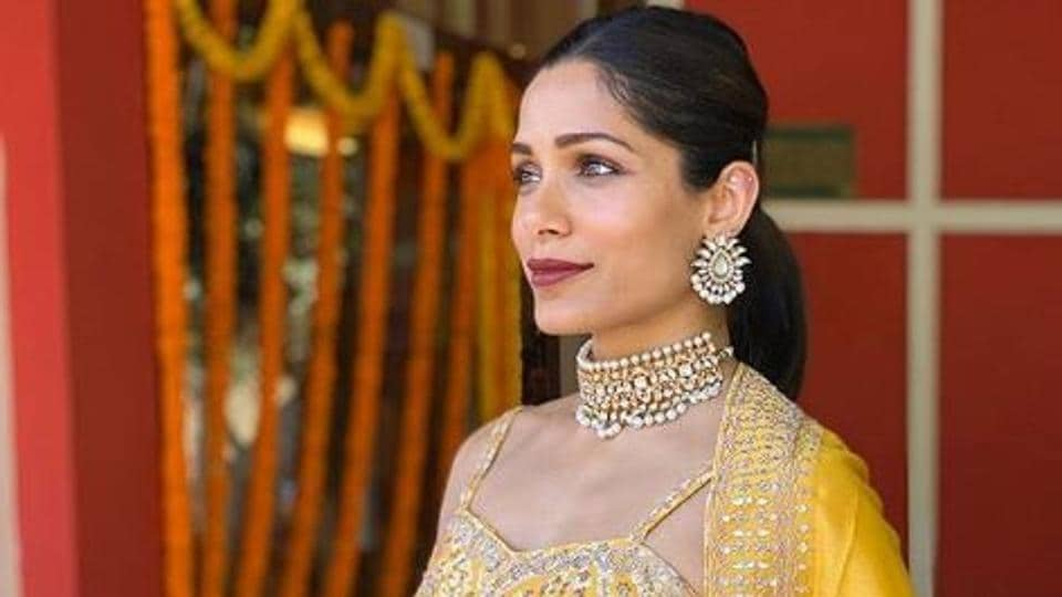 Freida Pinto shared pictures and video clips from her sister Sharon's wedding.