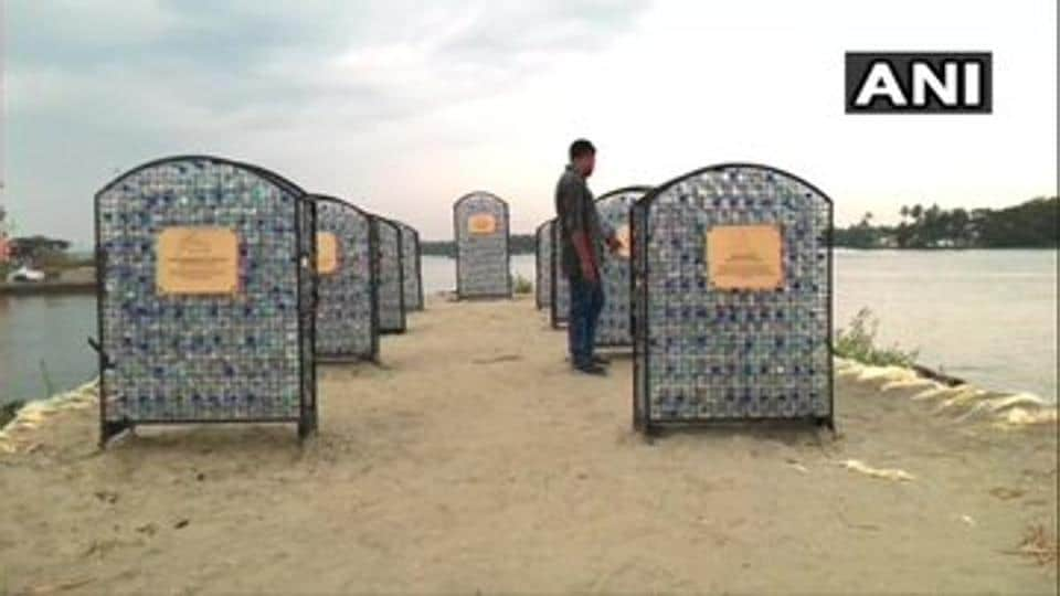 The cemetery has been built using more than 200 single-use plastic bottles.