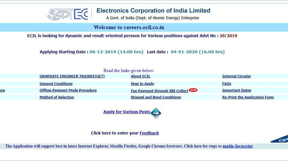 ECIL Recruitment 2020: 64 vacancies on offer, check details here