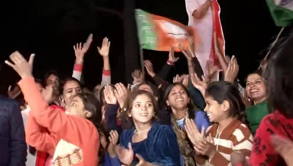 Hindu refugees from Pakistan celebrates as Parliament passes the Citizenship (Amendment) Bill, 2019, at MAjnu ka Tila in New Delhi on Wednesday.