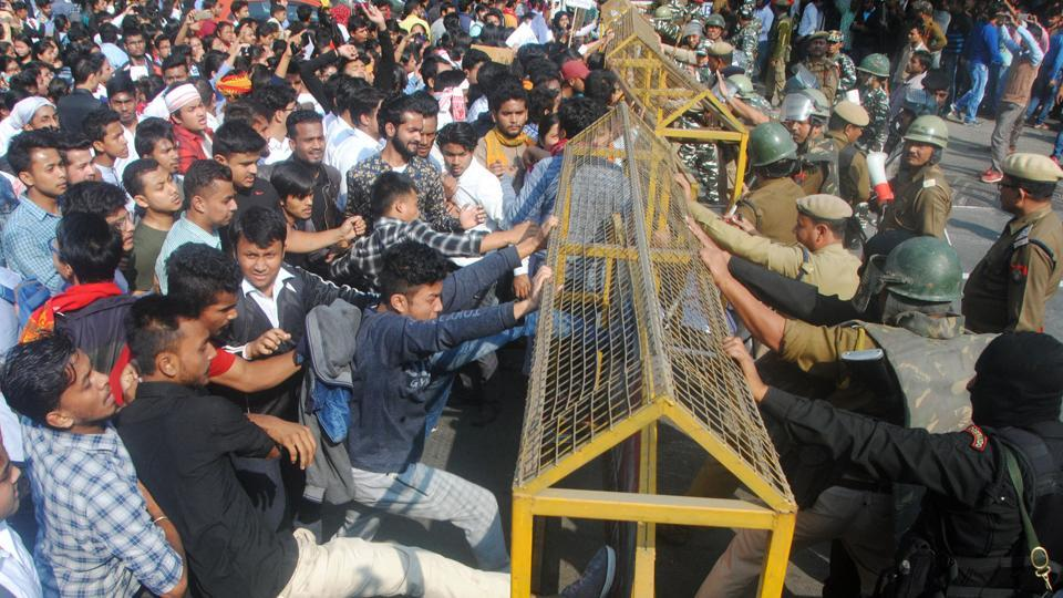 Demonstrators clash with security personnel during a protest march against the Citizenship (Amendment) Bill in Guwahati on Wednesday.