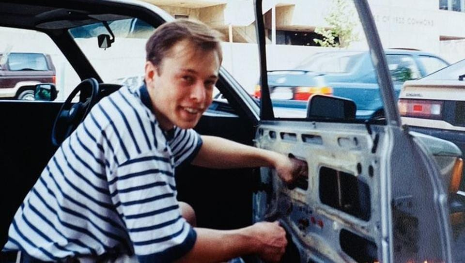 Elon Musk's mother, Maye Musk shared a photo of a 23- or 24-year-old Elon working on the broken window of a car back in 1995.
