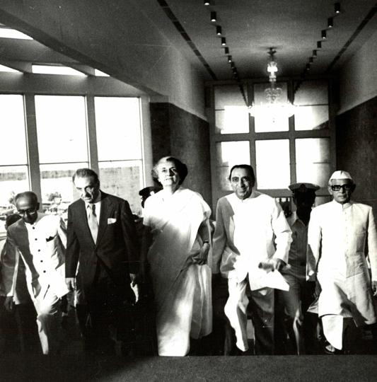 """Prime Minister Indira Gandhi, who inaugurated the NCPA twice, is flanked by JRD Tata and Dr Jamshed Bhabha at the opening of the Tata Theatre on October 11, 1980.  In her  speech she is said to have opened with a quote that to her mind best described the importance of a cultural centre,  """"If I had two loaves of bread, I would sell one and buy hyacinths to feed my soul."""""""