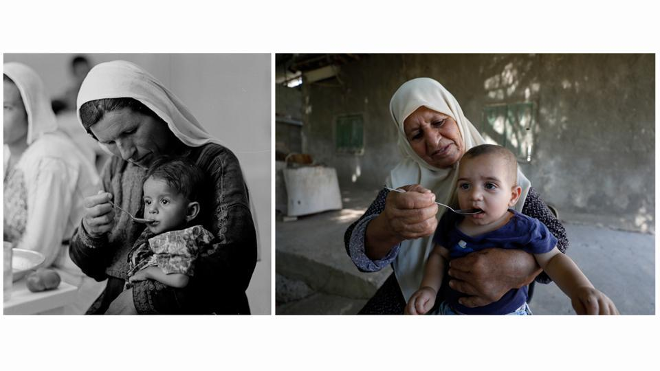 A Palestinian woman feeds a child at UNRWA's rehydration/nutrition centre in Ein El Sultan camp in Jericho in the Israeli-occupied West Bank in 1960s (L) and a Palestinian woman feeds a child at the same camp on September 17, 2019. Middle East has lurched from conflict to civil war to peace and back again. But for Palestinian refugees in these camps, there has been little movement over decades. (UNRWA / Mohamad Torokman / REUTERS)