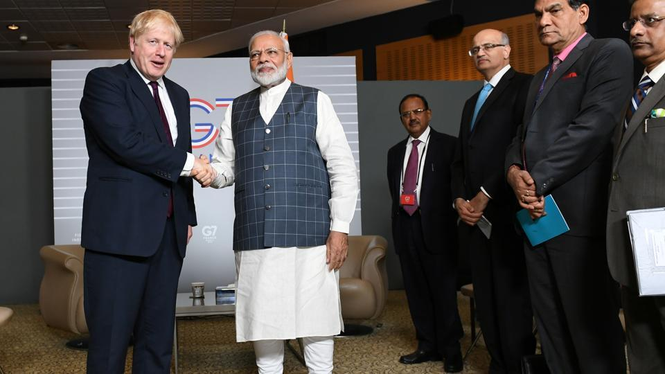 Britain's Prime Minister Boris Johnson meets Prime Minister Narendra Modi at a bilateral meeting during the G7 summit in Biarritz, France, on August 25, 2019.