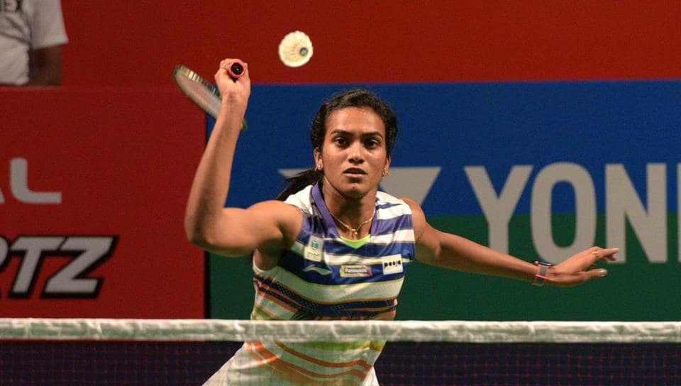 PV Sindhu of India in action during India Open 2019.