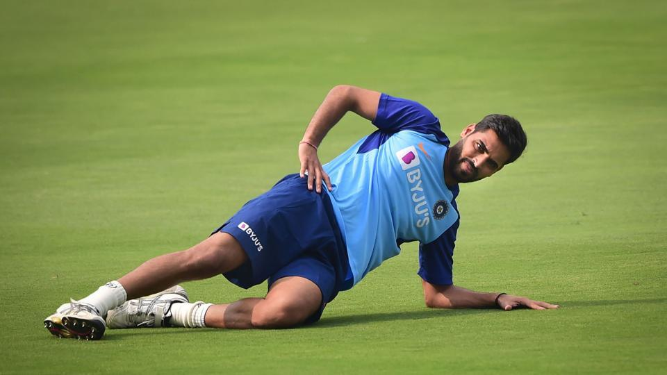 Bhuvneshwar Kumar during a practice session ahead of the first T20 match against West Indies.