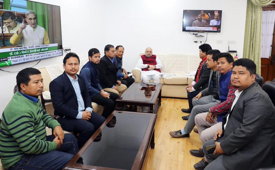 Home Minister Amit Shah met with delegations of IPFT and Joint Movement Against CAB from Tripura and discussed their concerns  on Thursday.