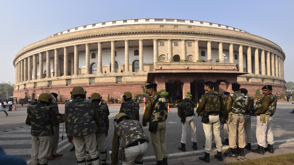 Security personnel seen during the ongoing winter session of Parliament, in New Delhi. Image used for representational purpose only.