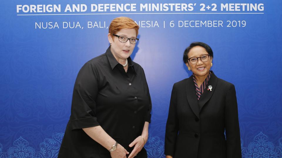 Indonesia Foreign Minister Retno Marsudi (Right)  poses with her Australia counterpart Marise Payne during their bilateral meeting in Bali, Indonesia on December 6.
