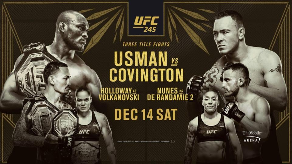 UFC 245 will see three title defences.