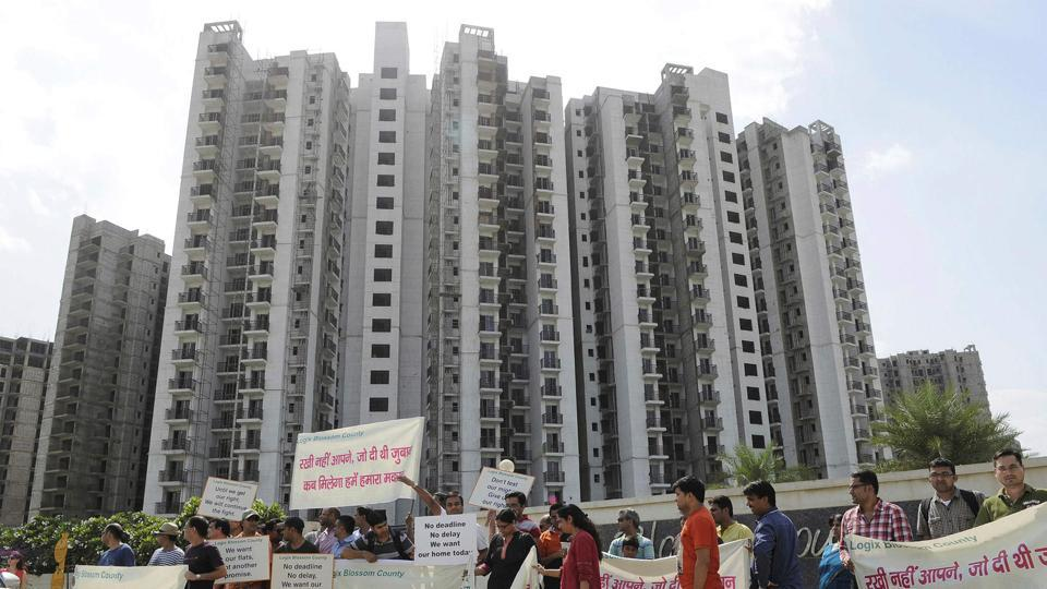 Homebuyers during an earlier protest in Sector 137, Noida, against Logix over the builder delaying possession of flats.