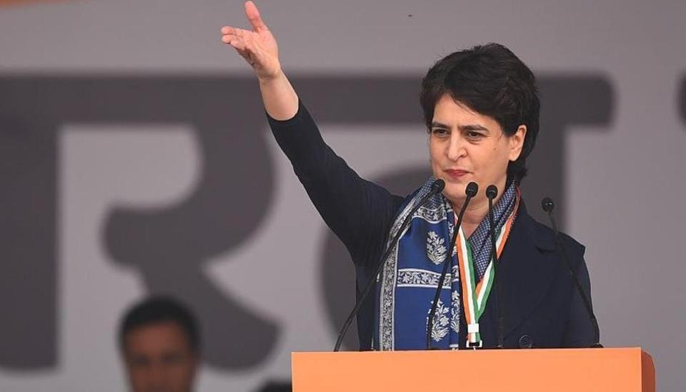 Congress leader Priyanka Gandhi Vadra at a Congress rally in New Delhi, December 14, 2019.