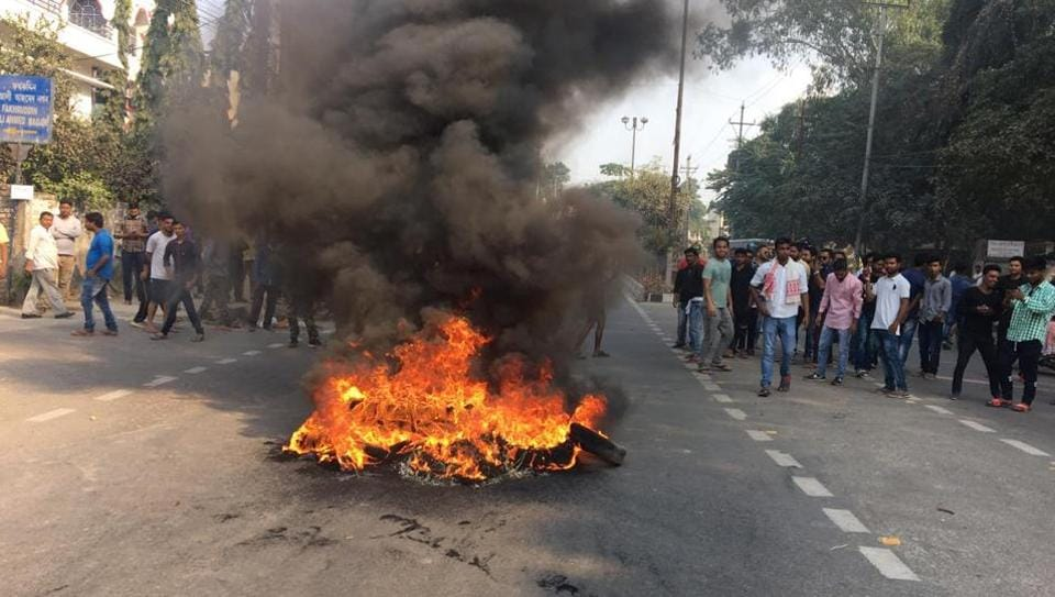 Tyres burn as protests rage in Guwahati, Assam against the Citizenship Act.