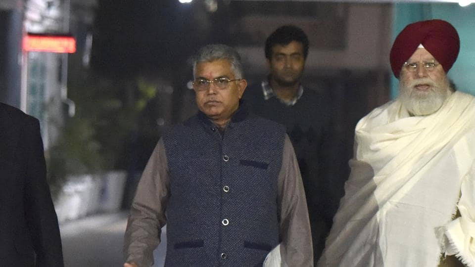 President of the West Bengal unit of the Bharatiya Janata Party Dilip Ghosh (in centre) has claimed that West Bengal will be the first state to implement citizenship amendment act.