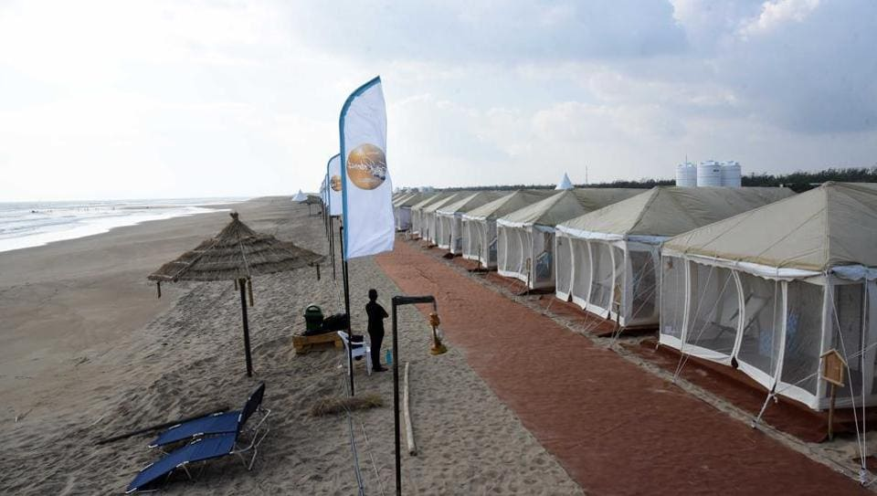 At the 50 luxurious tents pitched right on the beach, workers of the Lucknow-based firm Lalloji and Sons gave last-minute touches before the guests arrived in the afternoon.