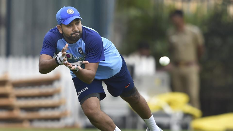 Indian player Rohit Sharma during a practice session.