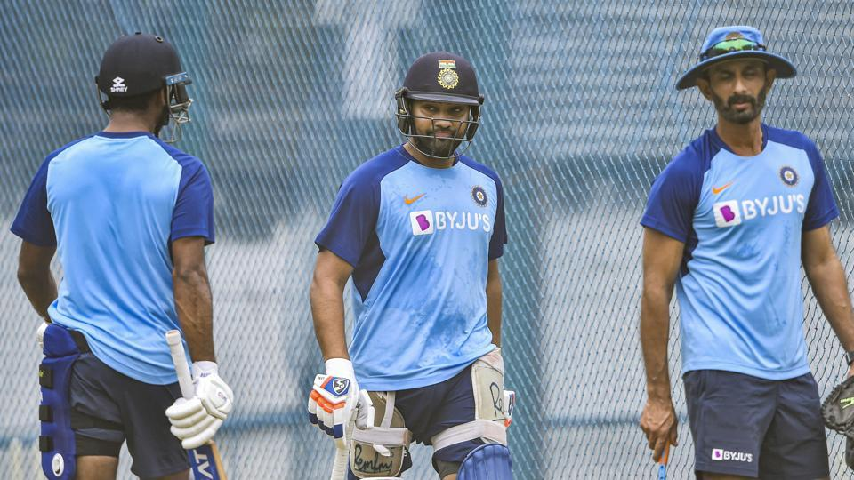 Indian player Rohit Sharma bats in the nets during a practice session.