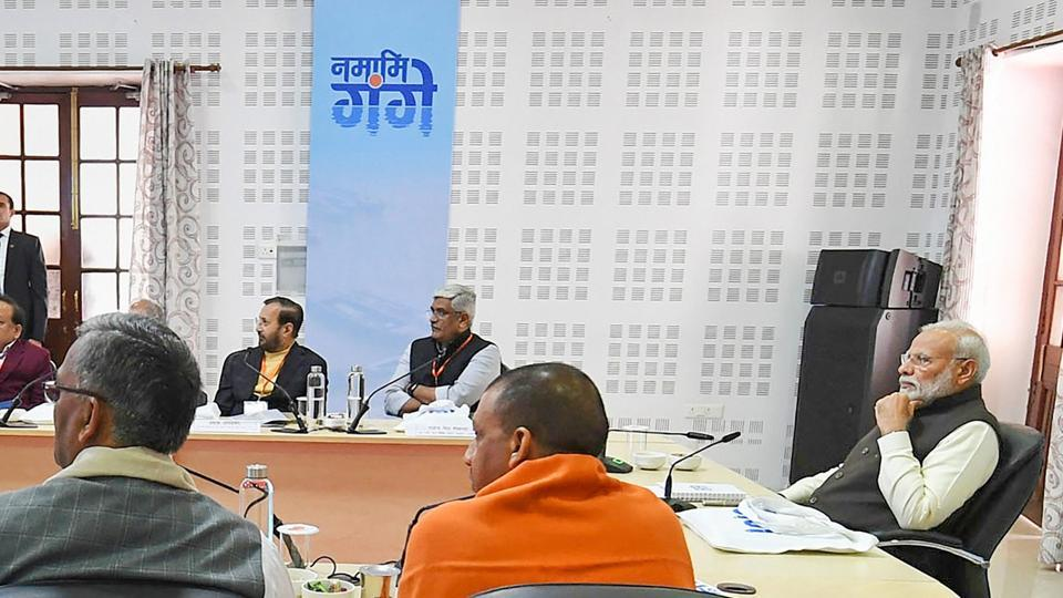 Prime Minister Narendra Modi attends the Ganga Council Meeting, in Kanpur.