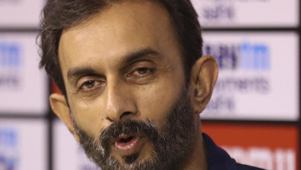 Indian team batting coach Vikram Rathour speaks during a press conference.