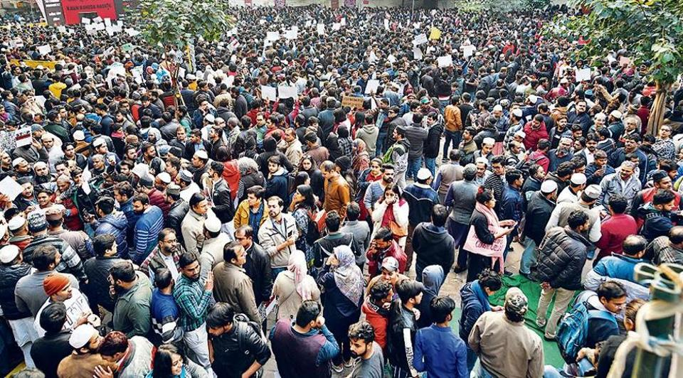 """People gather during a protest – """"Not in My Name"""" against the Citizenship Amendment Act, at Jantar Mantar, in New Delhi, India, on Saturday, December 14, 2019."""