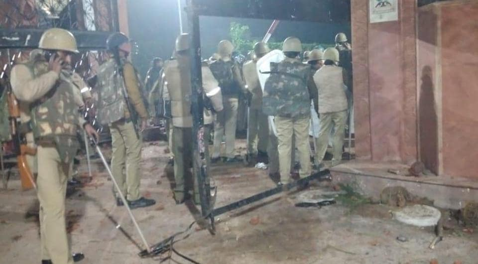 The police fired tear gas shells at protesters outside the Aligarh Muslim University campus after protesters pelted stones at them, news agency ANI reported.