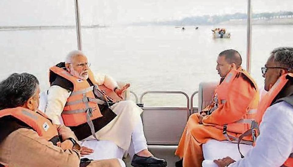 Prime Minister Narendra Modi reviews the Namami Gange project, aimed at cleaning river Ganga, in Kanpur on Saturday.
