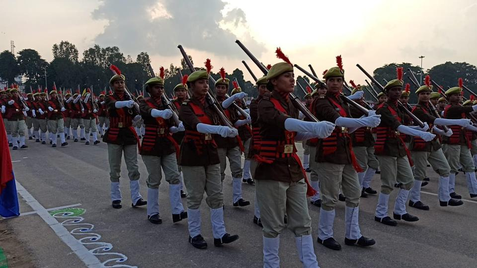 Women police recruits taking part in a passing out parade in Lucknow on Sunday.