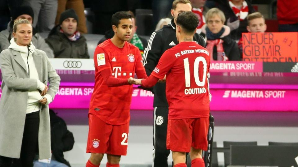 Bayern Munich's Sarpreet Singh comes on as a substitute to replace Philippe Coutinho.