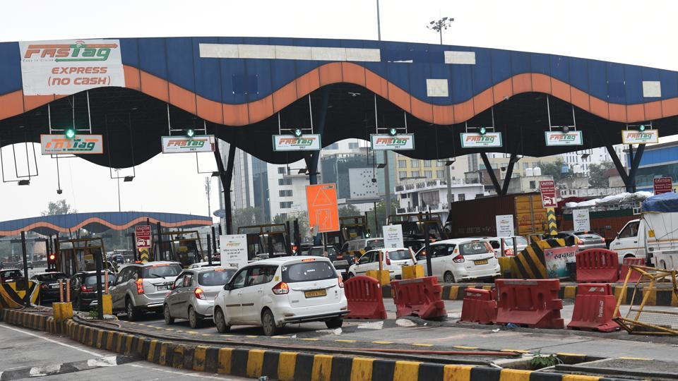 Faridabad toll plaza with FASTag lanes demarcated at Badarpur border, December 13, 2019.