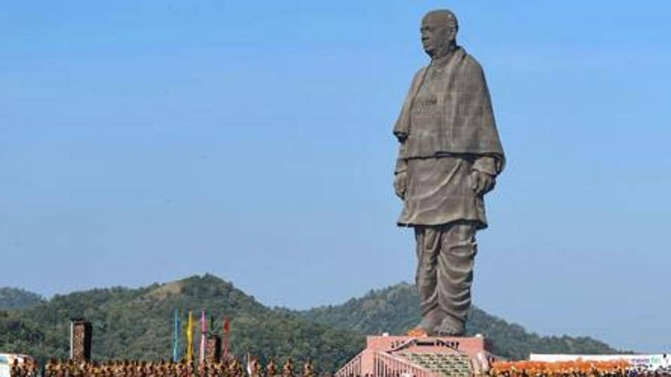 The Statue of Unity at Gujarat's Kevadia is a 182-m tall statue of India's first home minister Sardar Vallabhbhai Patel .