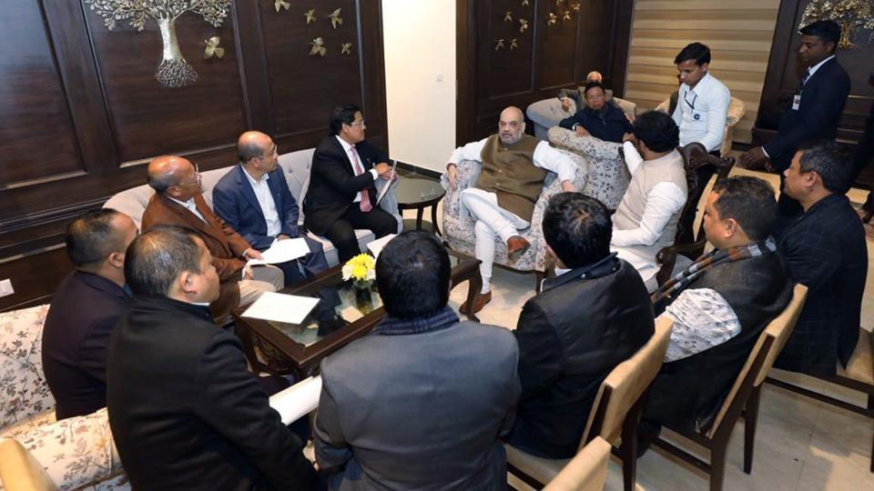 Union Home Minister Amit Shah in a meeting with a delegation of Meghalaya Democratic Alliance (MDA) led by its Chairman & Chief Minister Conrad K Sangma, in New Delhi on Saturday. (ANI Photo)