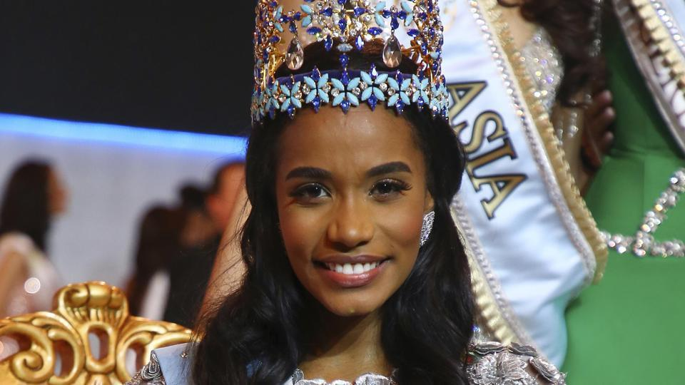 London: Winner of Miss World 2019, Toni-Ann Singh of Jamaica, front centre, poses for photographers at the 69th annual Miss World competition at the Excel centre in London Saturday, Dec 14, 2019, as 120 national representatives from around the world compete for the famous blue crown. Reigning Miss World, Vanessa Ponce de Leon from Mexico crowned her successor. AP/PTI Photo (AP12_15_2019_000013B) (AP)