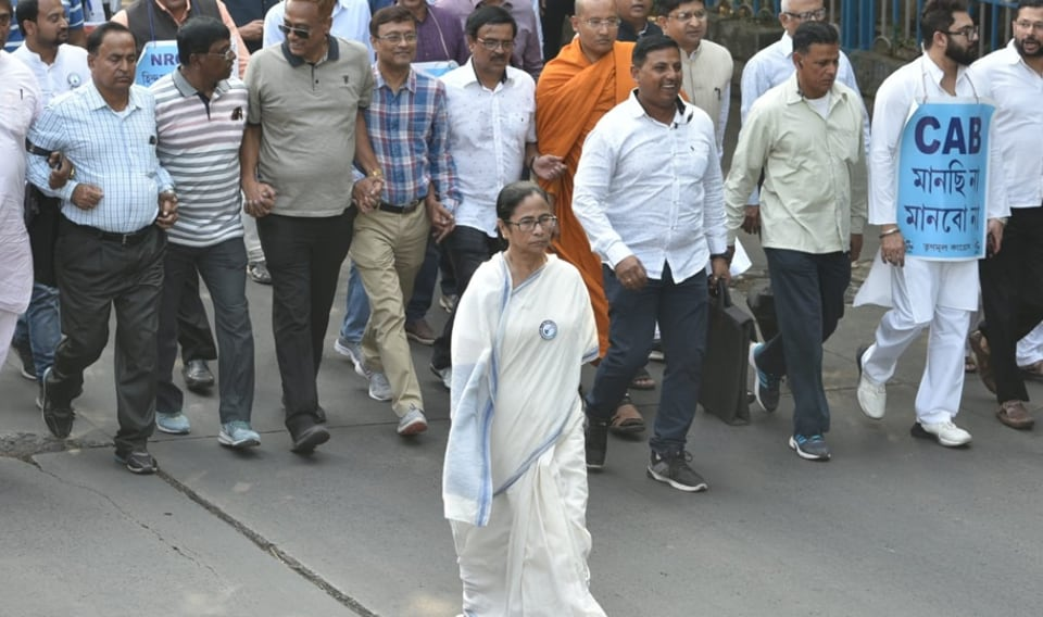 West Bengal Chief Minister Mamata Banerjee at a protest march in Kolkata against the amended Citizenship Act and the proposed countrywide NRC on Monday.