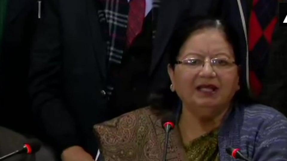 Jamia Millia Islamia vice chancellor Najma Akhtar at a press briefing, Dec 16, 2019.