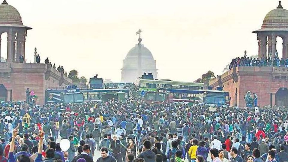 Demonstrators during a protest at Vijay Chowk, following the December 22 gang rape of 23 year-old paramedical student.