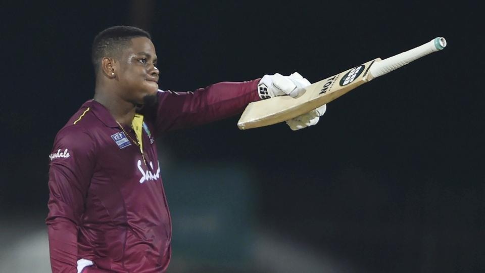 West Indies player Shimron Hetmyer celebrates his century during the first One-Day International (ODI) cricket match between India and West Indies, at MAC Stadium in Chennai, Sunday, Dec. 15, 2019.