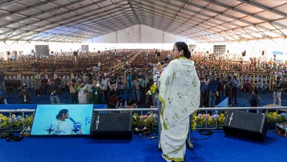 West Bengal Chief Minister Mamata Banerjee speaks at a programme at Kharagpur in West Midnapore district onDecember 9.