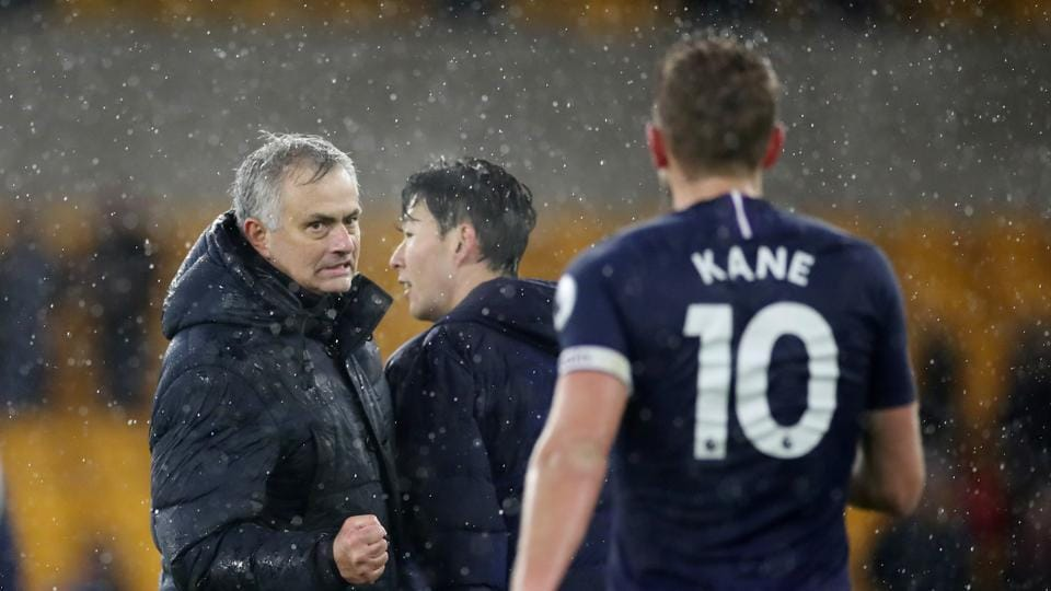 Tottenham Hotspur manager Jose Mourinho and Harry Kane celebrate after the match.