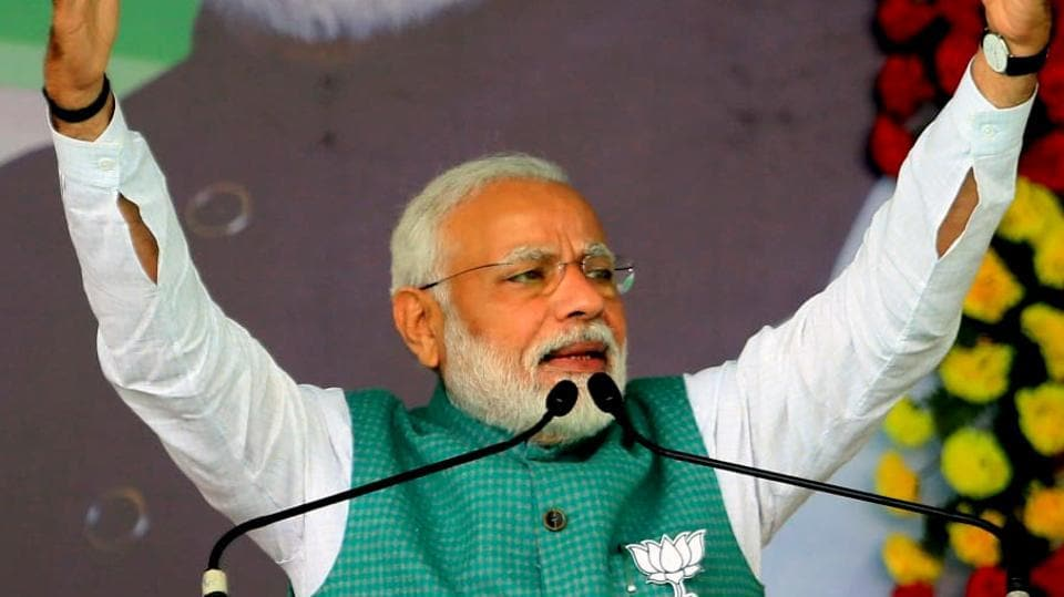 JPrime Minister Narendra Modi  during an election rally in Jharkhand, Dec 15, 2019.