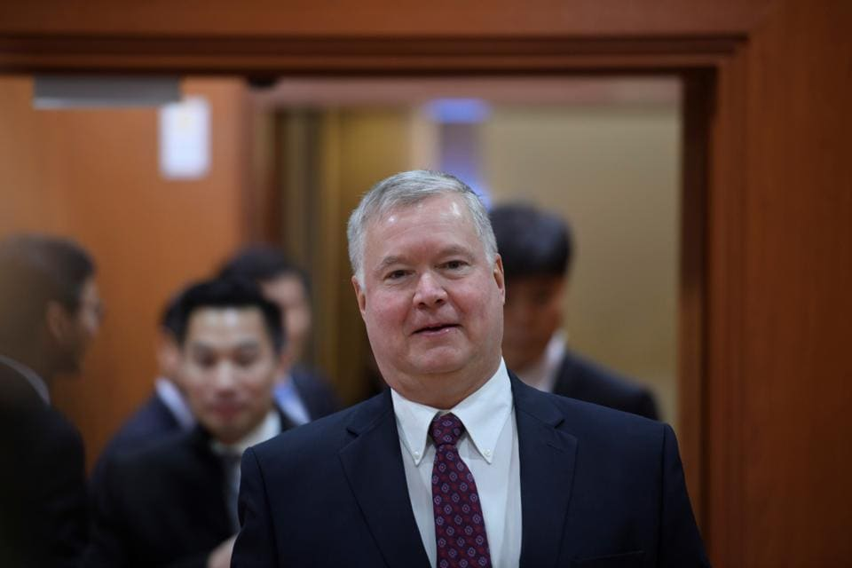 US special representative for North Korea Stephen Biegun arrives for a meeting with South Korea's vice foreign minister Cho Sei-young at the foreign ministry in Seoul, South Korea December 16, 2019.